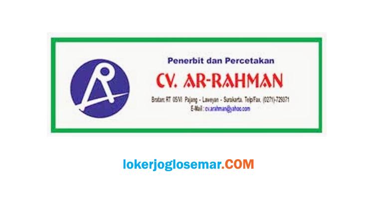 Lowongan Kerja Solo September 2020 CV Ar Rahman