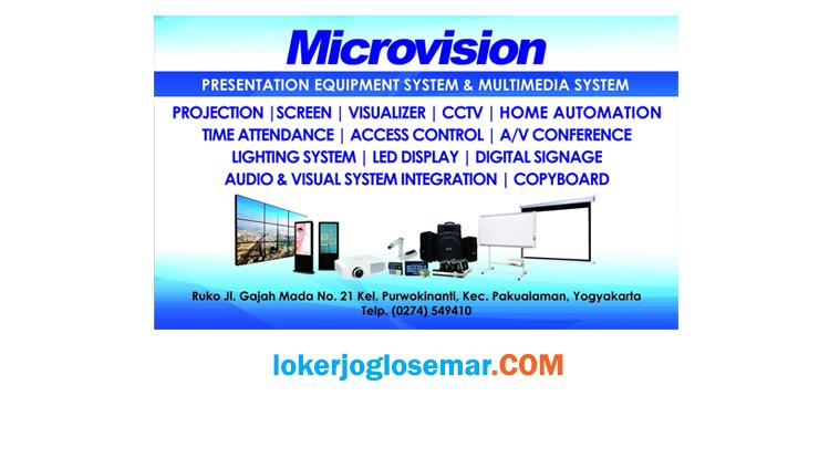 Loker Jogja Terbaru Bulan Agustus 2020 PT Microvision Indonesia